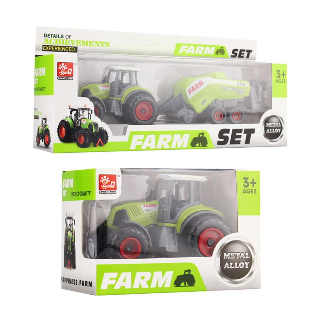 Paduan Teknik Mainan Mobil Bulldozer Farm Model Kendaraan Alloy Truk Traktor Mainan Die Cast Pemanen Trailer Hijau Mainan untuk Anak