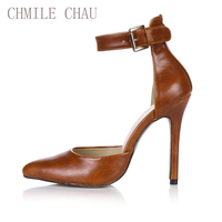 2017 Spring Camel Sexy Party Shoes Women Pointed Toe Stiletto Super High Heels Ankle Strap Ladies