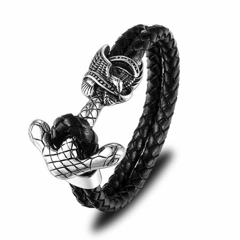 MKENDN, новинка, модные мужские браслеты из натуральной кожи, Череп, якорь, рок, панк, нержавеющая сталь, подвески, браслеты на запястье