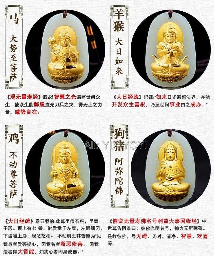 Jade Hetian blanco Natural + colgante de amuleto afortunado de Buda GuanYin chino de Incrustaciones de oro sólido de 18K + collar de joyería fina de encanto gratis