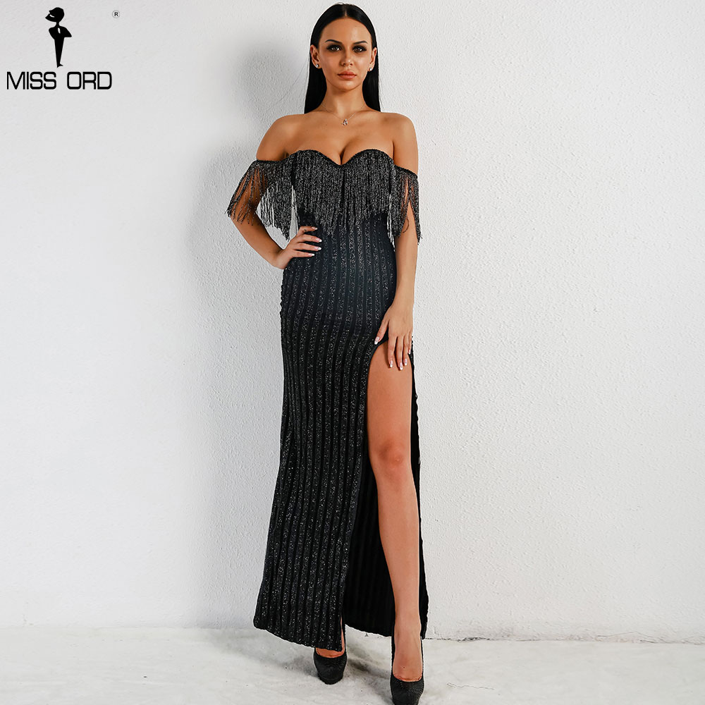 7a739238 Aliexpress.com : Buy Missord 2019 Sexy Elegant V Neck Off Shoulder Tassel  Glitter High Split Maxi Dress FT8950 2 from Reliable Dresses suppliers on Miss  ord ...