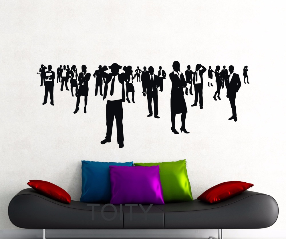 Businessman Wall Stickers Business People Workplace Office Vinyl Decals  Meeting Room Interior Decor Art Mural