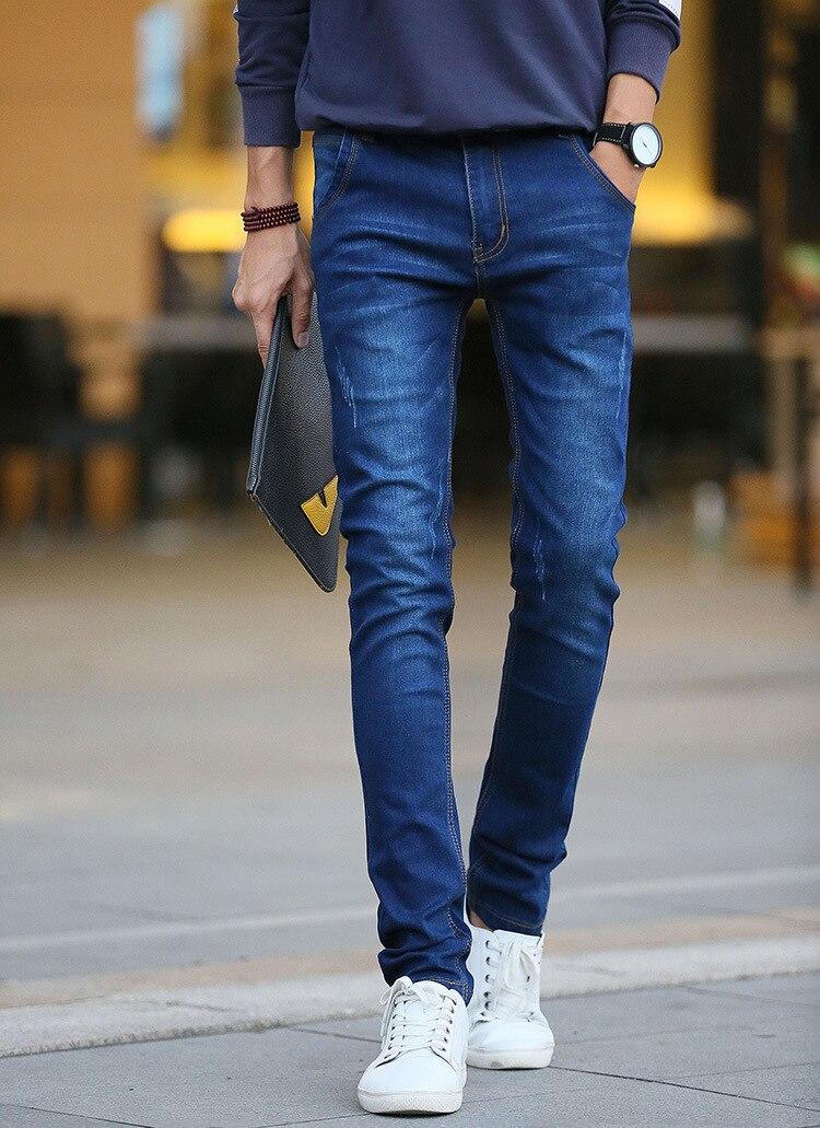 2017 New Fashion Classic Design Mens Stretch Jeans Slim Fit Elastic Denim Pencil Jean Pants Soft And Good Quality Size 27 To 36 men s cowboy jeans fashion blue jeans pant men plus sizes regular slim fit denim jean pants male high quality brand jeans