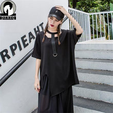 Hip Hop 2019 camiseta de verano Mujer suelta Irregular diseño de manga  corta Camisa de manga murciélago Casual mujer superior . 308d0af26f0