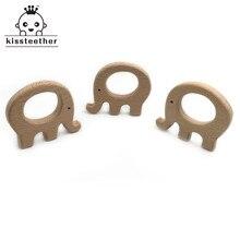 50pc diy madeira personalizado pendente orgânica faia elefante de madeira natural artesanal bebê mordedor de madeira para o bebê dentição enfermagem