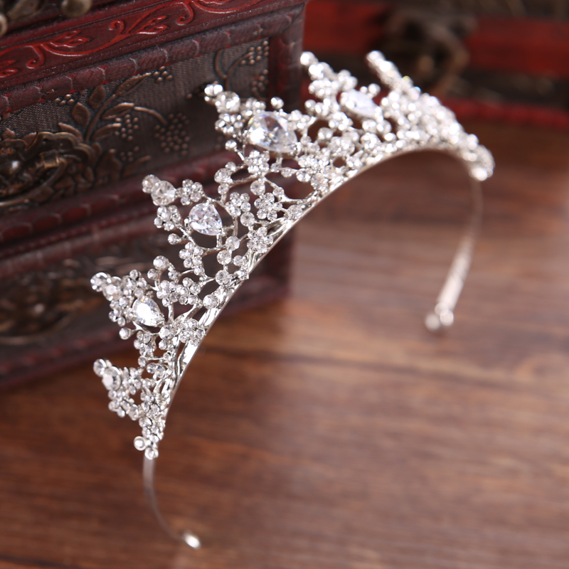 New Hair Jewelry Vintage Silver Baroque Crystal Rhinestones Tiara Crown For Wedding Bride Prom Hair Accessories Show Party Gift