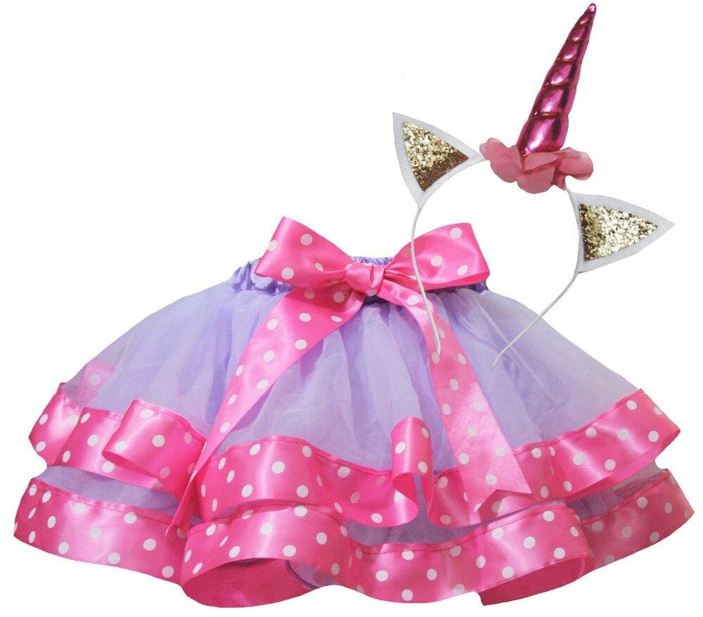 Unicorn Headband Halloween Xmas Birthday Party Costume Girl Tutu Petal Skirt Set Nb-8y LKP0002 halloween rhinestone cat black pettitop girl green zebra pettiskirt outfit 1 8y mamg1226