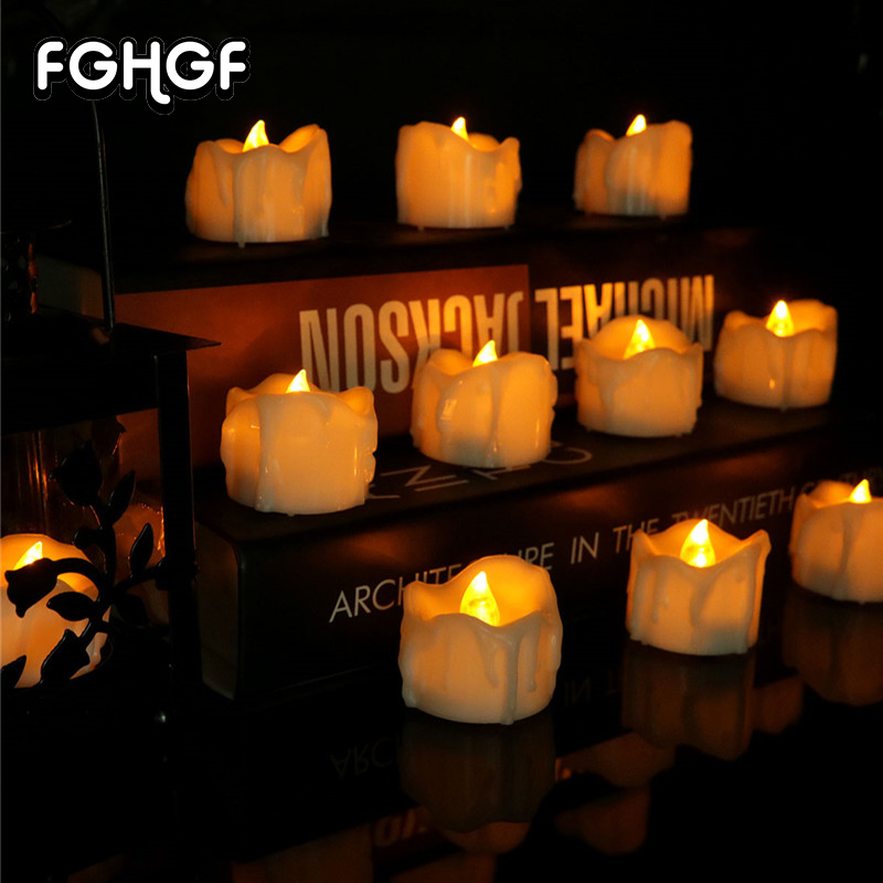 12pcs Amber Yellow Flickering Timing Flameless LED Tea Light Candles Weddings Parties Home Decoration Religious Votive Birthday