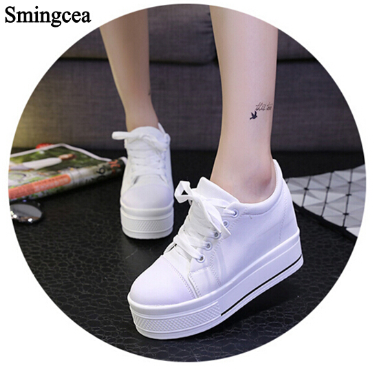8.5cm Thick Soles Muffin Platform Shoes Woman Casual Canvas Shoes White Women Flats For 2017 Summer shoes e toy word canvas shoes women han edition 2017 spring cowboy increased thick soles casual shoes female side zip jeans blue 35 40