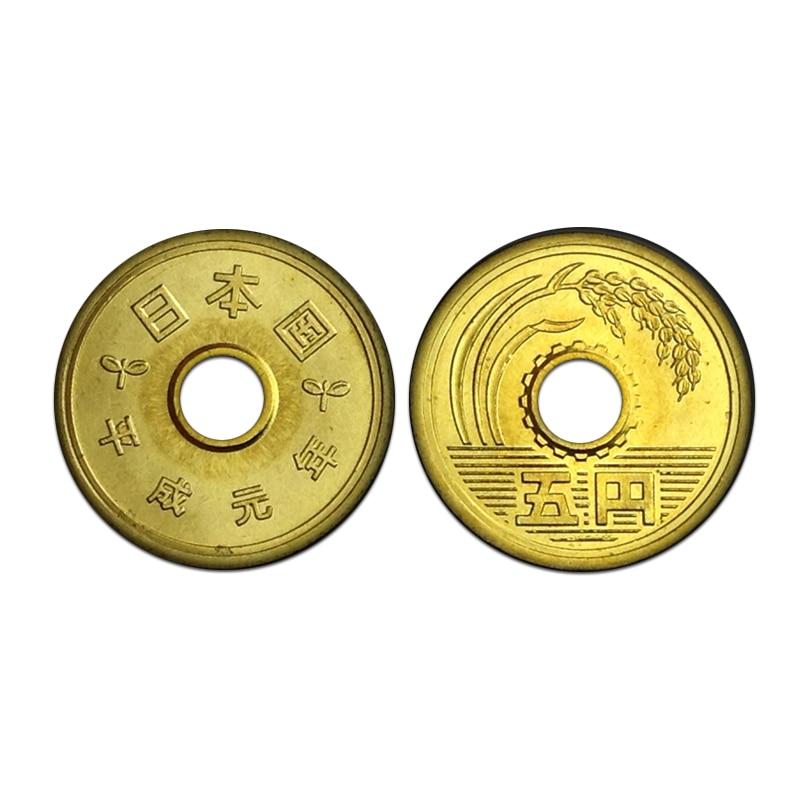 Японские монеты 5 Йен, 1989, латунные, азиатские, новые, UNC, НАСТОЯЩИЕ Оригинальные монеты Y #96,1, Коллекция 1 шт. Безвалютные монеты      АлиЭкспресс