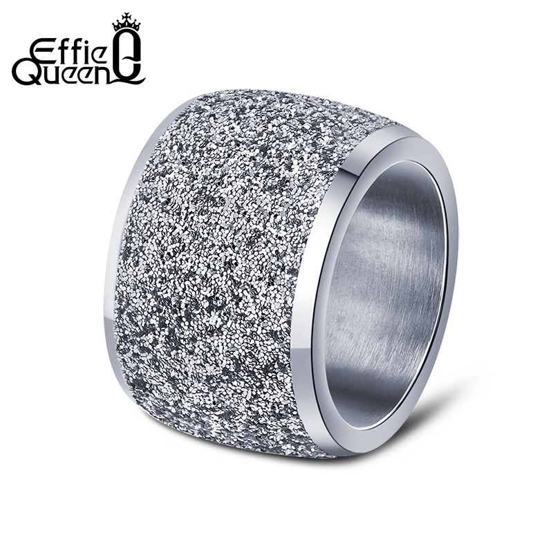 Effie Queen Silver/Rose Gold Color Stainless Steel Rings 16mm Frosting Surface Big Wedding Band Party Ring for Women IR73