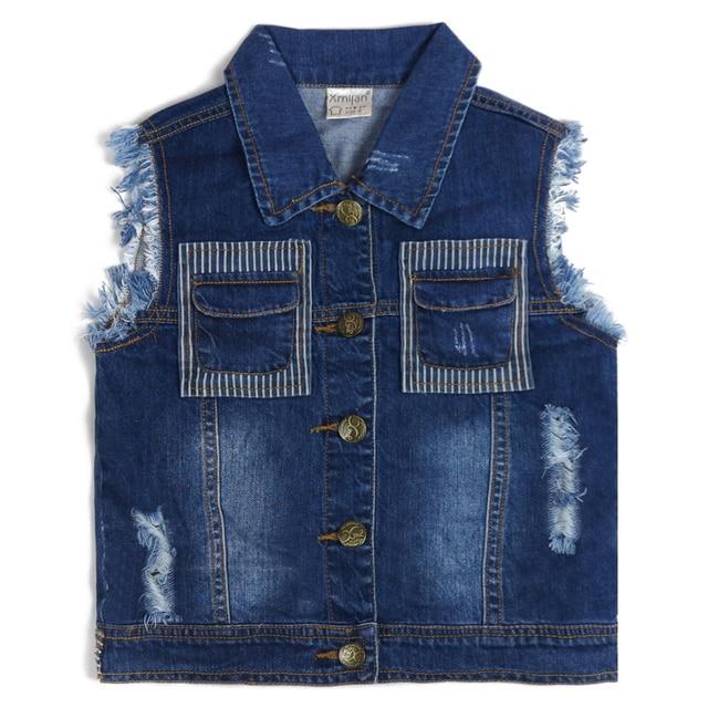 fad118857da9 Meninos Sem Mangas Colete Jeans Crianças Jeans Rasgado Buracos Botão de  algodão de Qualidade Moda Wearings