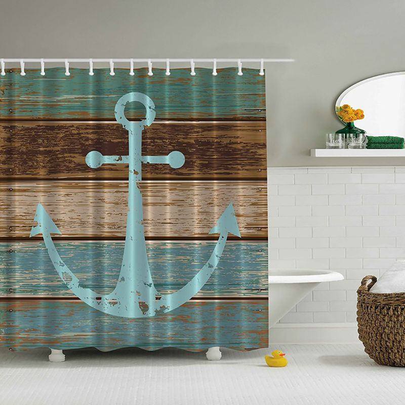 Waterproof & Mildewproof 3D Nautical Anchor /Map Print Bathroom Set Fabric Shower Curtain with Hooks AA