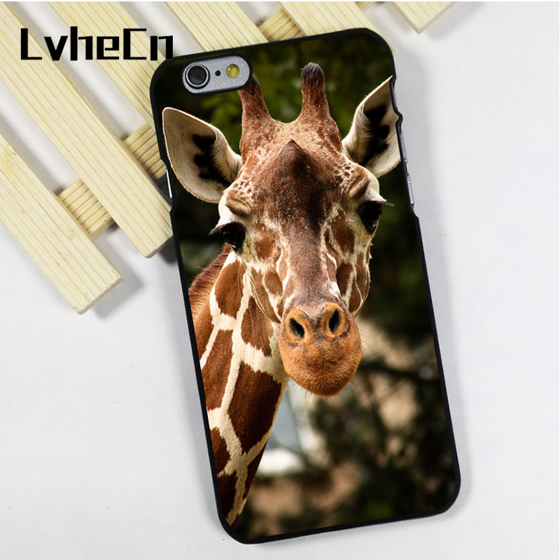 LvheCn phone case cover fit for iPhone 4 4s 5 5s 5c SE 6 6s 7 8 plus X ipod touch 4 5 6 Cute Giraffe Face African Nature