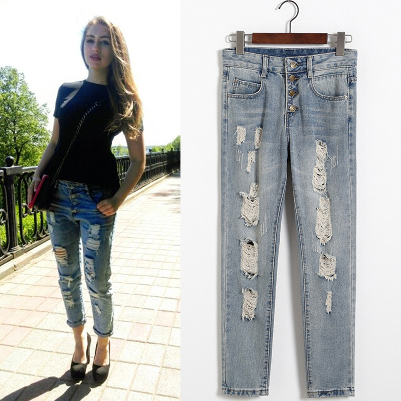 Women s Jeans Fashion Ripped Jeans Hole Elastic Stretch Summer Full Length Harem Jeans Pants Denim