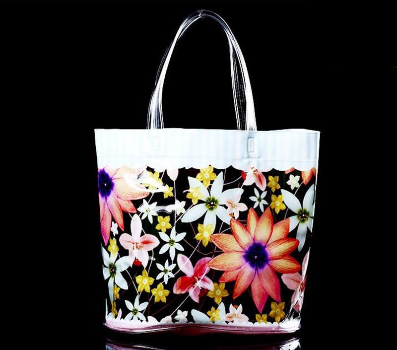Custom promotional full color printing pvc tote bag for Custom plastic t shirt bags