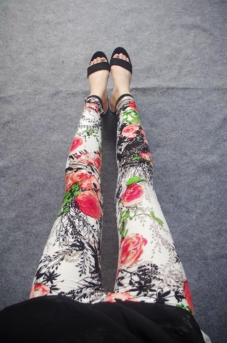 BIVIGAOS Spring Summer Womens Fashion Black Milk Thin Stretch leggings Colored Stars Graffiti Slim Skinny Leggings Pants Female 81