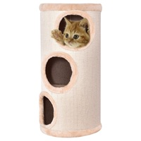 14 x 27.5 Cat Tower with 3 Holes Durable Sisal Exterior Pet Furniture Kitten Climb Tower with Dangling Pom Toy PS6840
