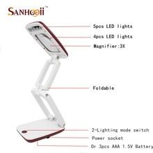 Portable Foldable Desktop 3X Magnifier USB LED Desk Lamp Light Loupe