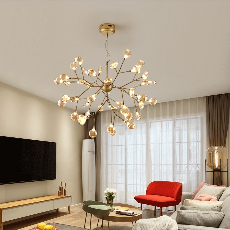 LukLoy Firefly Chandelier Modern Postmodern Living Room Decorative Lamp Iron LED Suspension Dining Room Pendant Bedroom Light