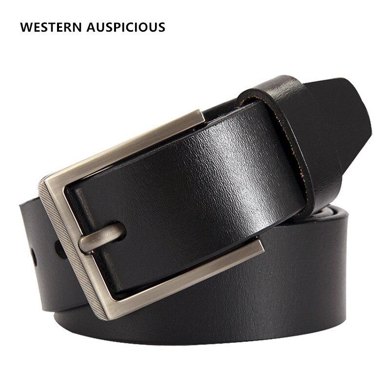 WESTERN AUSPICIOUS Belts Cummerbunds Cow Leather Black Coffee Men Belts Pin Buckle Men Business Straps 2021 Male Leather Belt