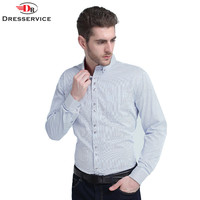 US Euro Size 100 Cotton 2016 Spring Classic Striped Lapel Men Fashion Business Casual Long Sleeved
