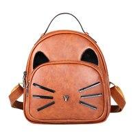 2017 Women Cartoon Cute Cat Printed Backpack Girls PU Leather Lovely School Bag Female Fashion Small