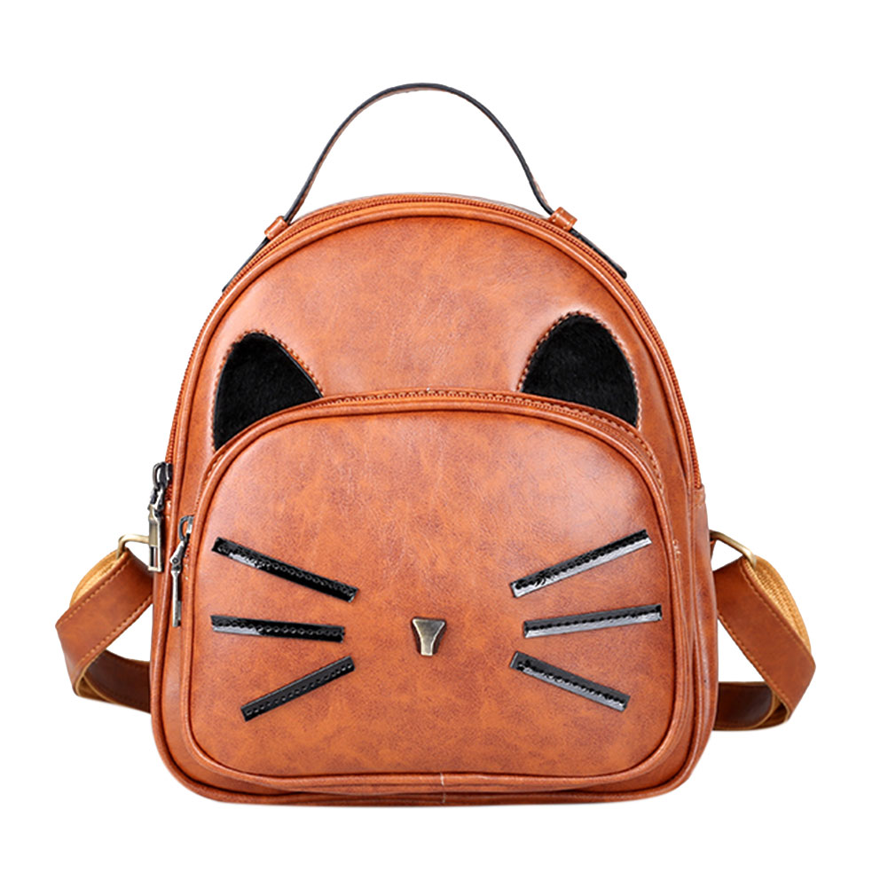 Women Cartoon Cute Cat Printed Backpack Girls PU Leather Lovely School Bag Female Fashion Small Travel Rucksack Bag