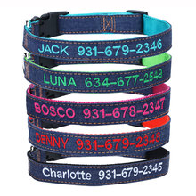 Custom Embroidered Tough Pet dog collar with name and phone number