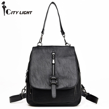Women Multifunction Backpack  Shoulder Bag Large Capacity Backbag Female Zipper School Bag Girl Travel Bag Mochila