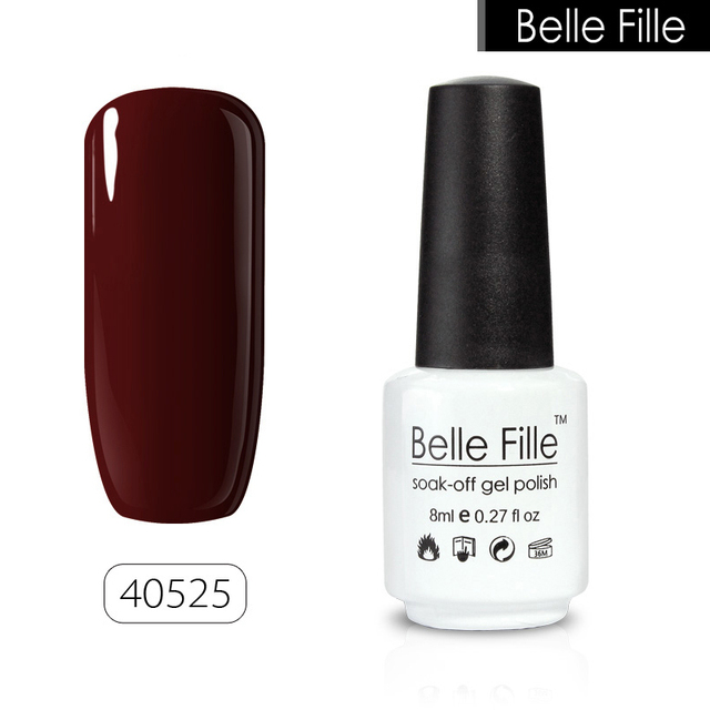 BELLE FILLE UV Gel Wine Red Nail Polish Candy Colors Bling Soak Off ...