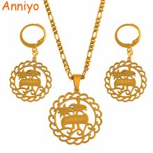 Anniyo Kiribati Pendant Necklaces Earrings Jewellery Sets Stainless Steel for Women Ethnic Jewelry Patriotic Gift #050021(China)