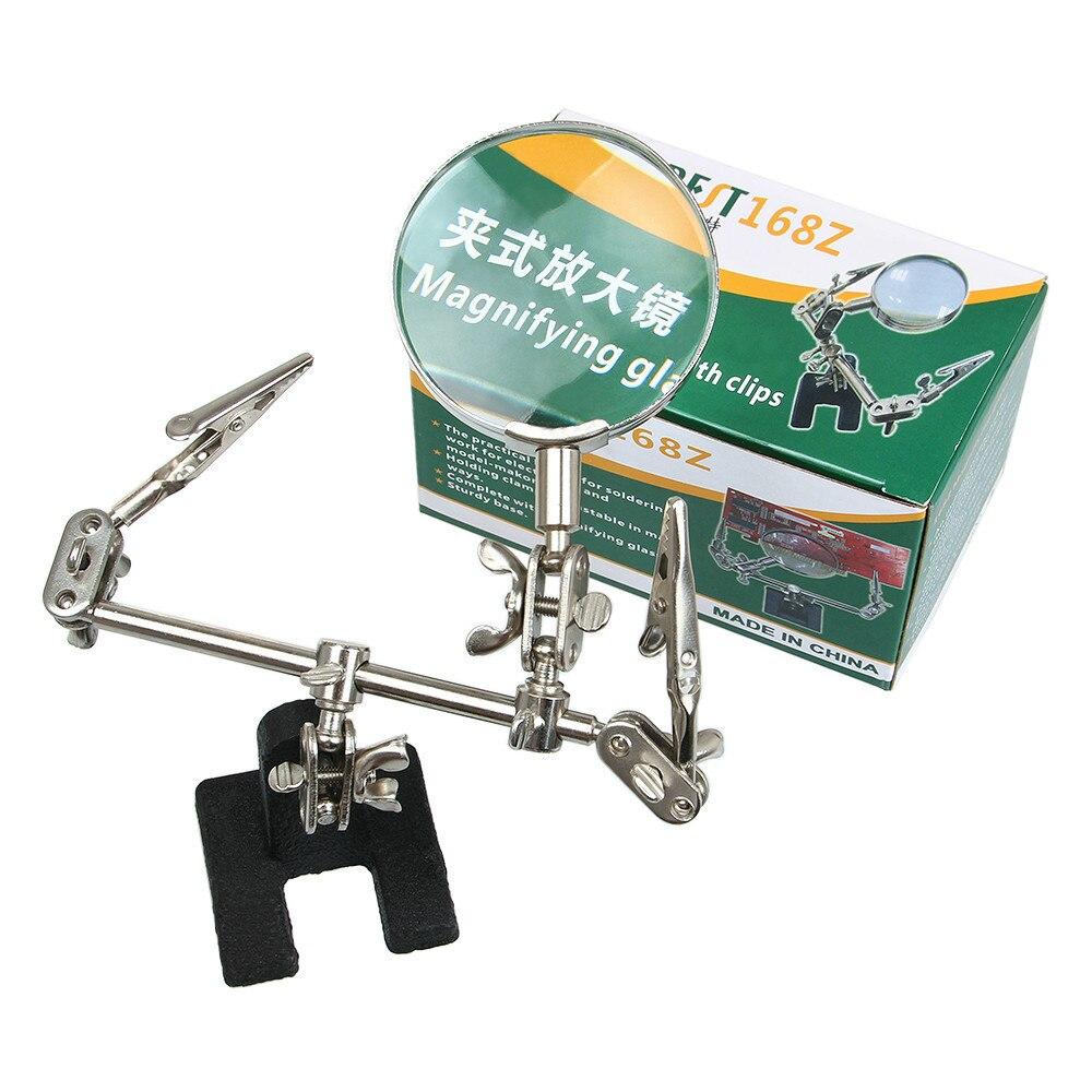 1 piezas suministro tres mano lupa/lupa clip auxiliar 65mm lupa envío gratis