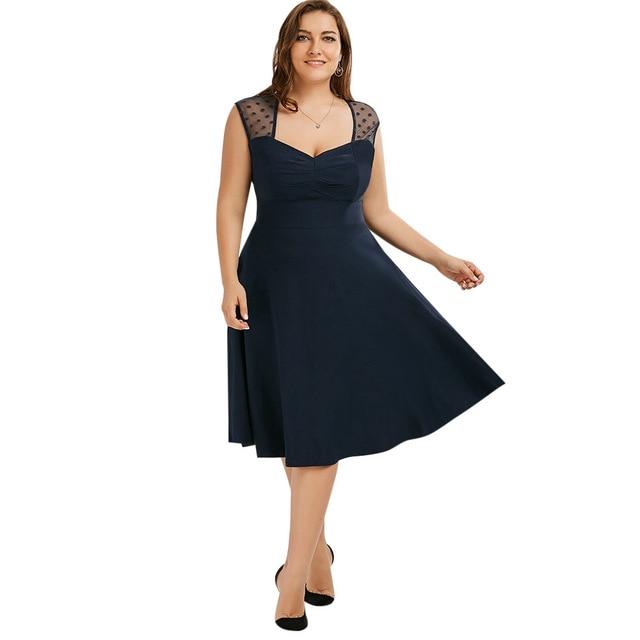 e69d074125f59 Oxiuly Vintage A-line Polka Dots Midi Party Swing Dress Sheer Navy Blue Plus  Size 6XL 50s Women Dresses Vestidos De Festa
