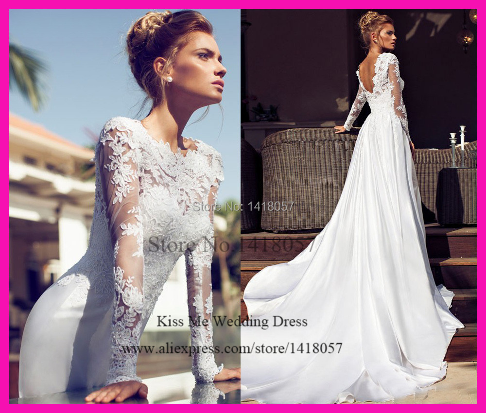 new design white russian style long sleeves lace bridal dresses v back a line satin wedding gowns vestido de noiva