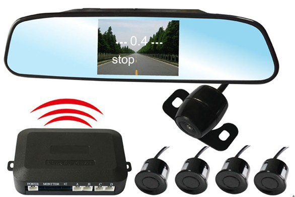 4.3 inch LCD display wireless Parking Sensor System Rear View Camera Radar Alert Alarm System with 4 Sensors