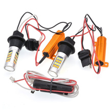 2x T20 7440 50W 2835 42SMD Error Free Canbus LED DRL Daytime Running Lights & Front Turn Signals All in One T20 7440 Turn Light