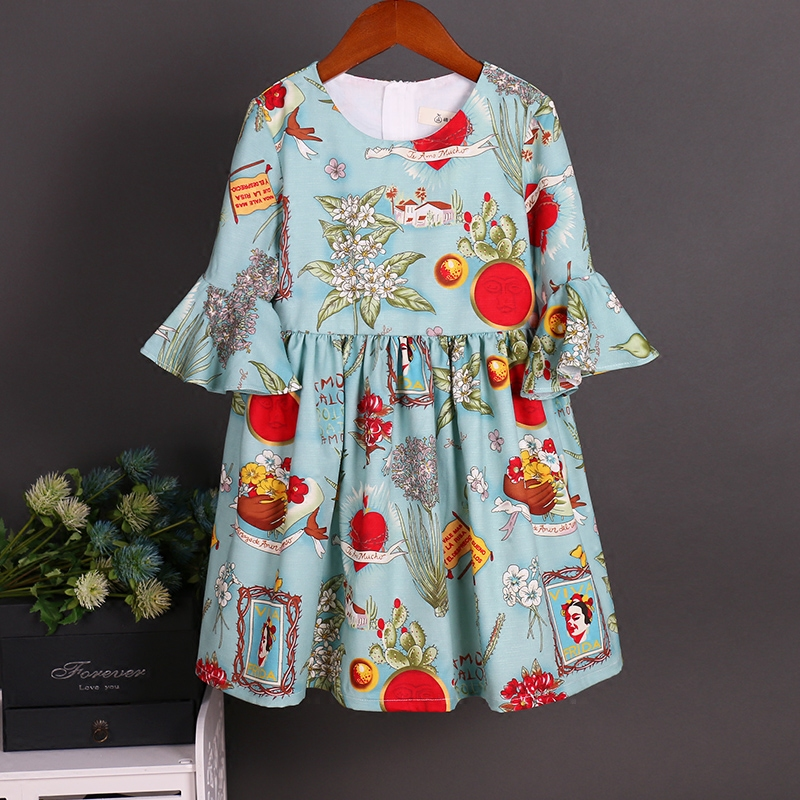 Été enfants coton trompette manches famille look vêtements maman fille mode robe enfants bambin jupe mère et fille vêtements