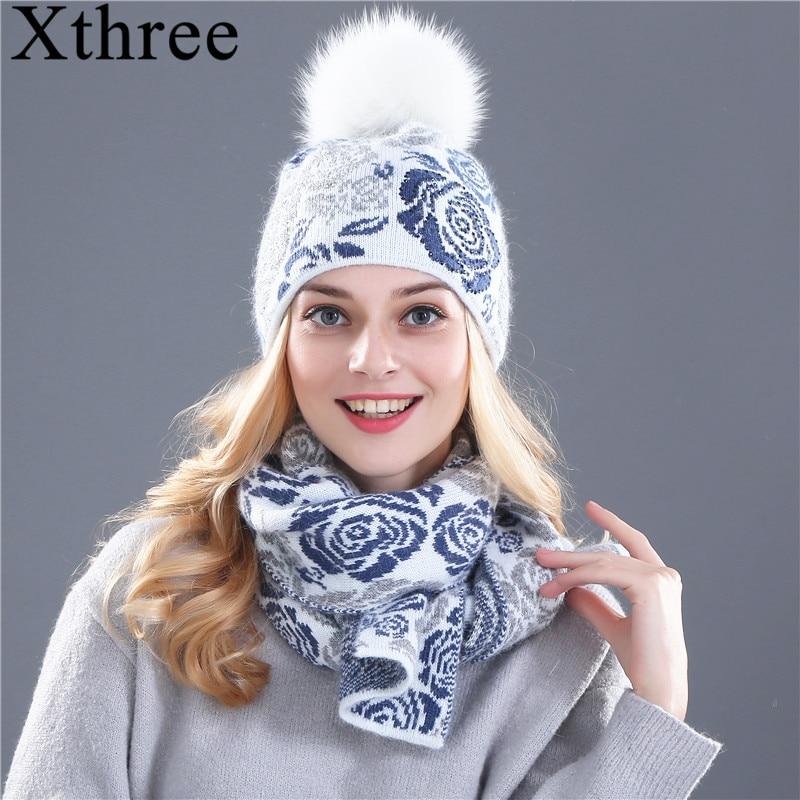 de99c3d93df50 Xthree cachecol chapéu de inverno para as mulheres da menina gorro de lã  chapéu Feito Malha conjunto cachecol e big fur real mink pom pom