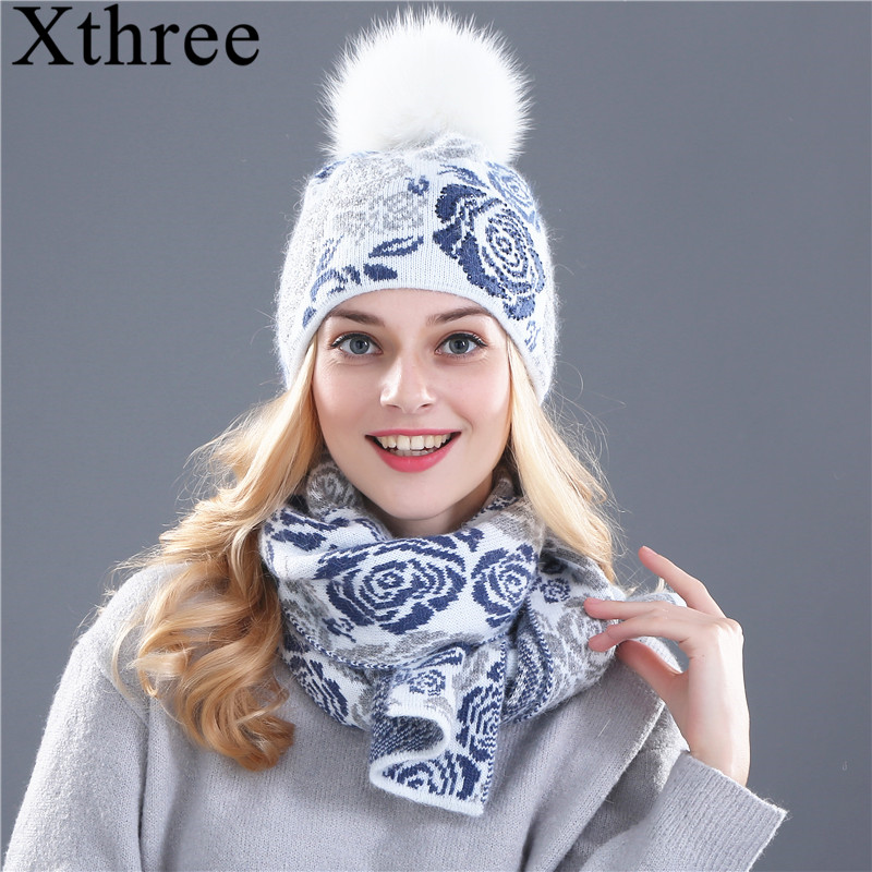Xthree winter hat scarf for women girl's beanie wool Knitted hat scarf set and big real mink fur pom pom