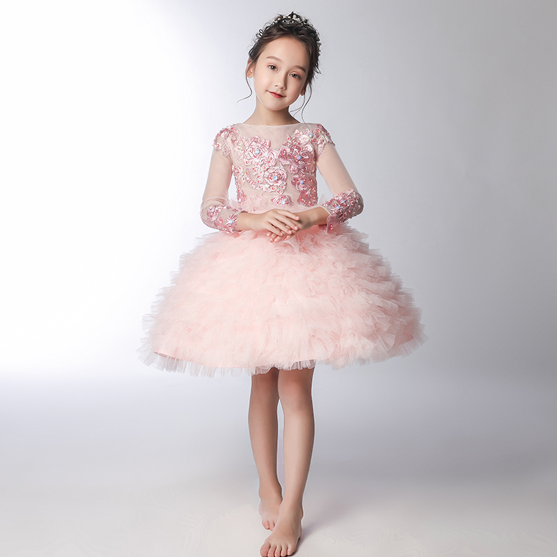 Layered Princess Dress Embroidery Flower Girl Dresses for Wedding Lace Up Kids Pageant Dress for Birthday Party Gowns B191