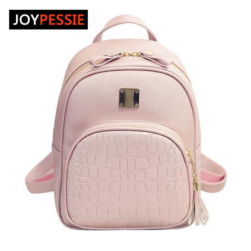 Joypessie Fashion Female PU Backpacks casual leather School Backpacks small preppy Women Small Black Backpacks