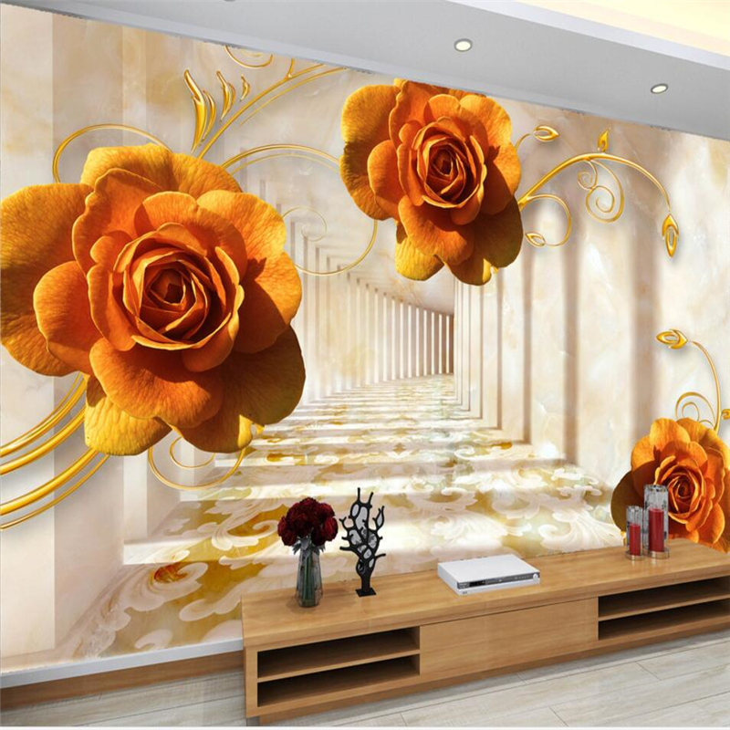 beibehang Custom wallpaper beautiful 3d photo mural rose three-dimensional living room bedroom TV background 3d wallpaper murals red square building curtain roman 3d large mural wallpaper bedroom living room tv backdrop painting three dimensional wallpaper