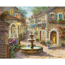 Fountain Landscape DIY Painting By Numbers Hand Painted Oil Painting Home Decor Wall Art Picture For Room Artwork r237