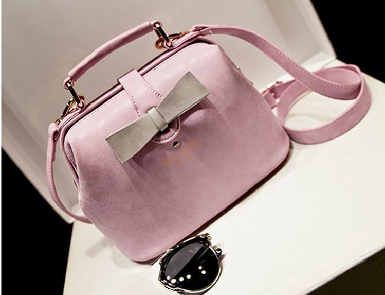New fashion candy-color girls cute bow handbag PU leather stereotypes doctor bag brand designer women shoulde messenger bag