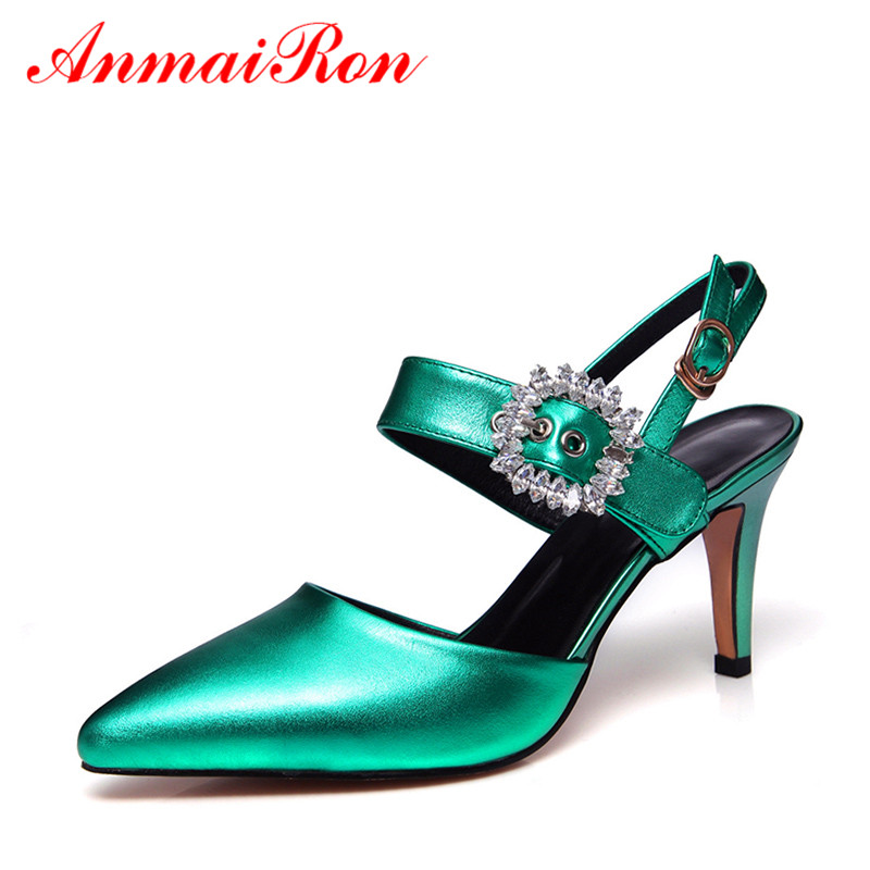 ANMAIRON Women Pointed Toe Leather Pumps Rhinestone Shoes Woman Sexy Slingback High Heels Sandlals Women Close Toe Pumps anmairon women pumps 2018 low heel spring court shoes woman pointed toe pumps med heels silver gold women black giltter shoes