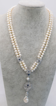 2rows freshwater pearl white near round 7-8mm &reborn keshi pendant  19-20inch wholesale nature beads FPPj
