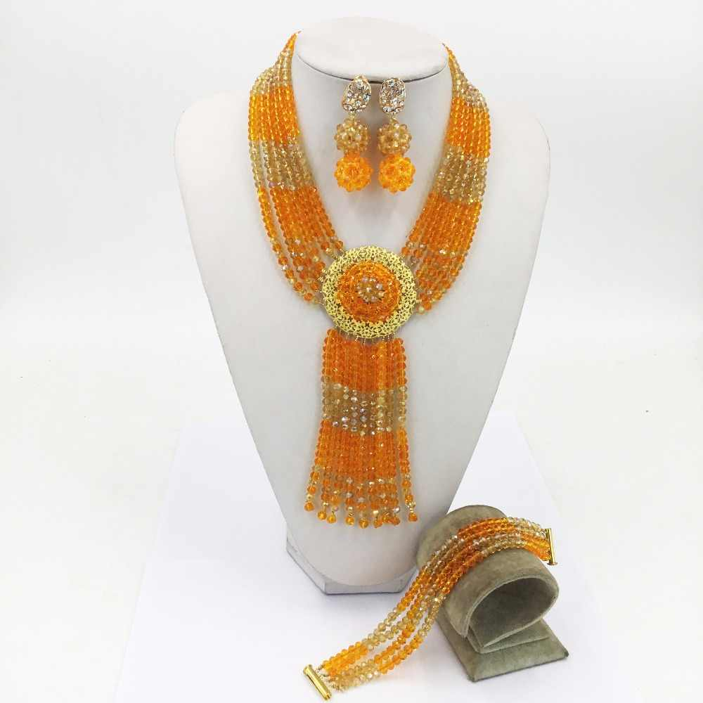 Lolvely Orange Gold AB Multistrands Costume Necklace Nigerian Wedding African Beads Jewelry Set Crystal for Women 6CXLS13