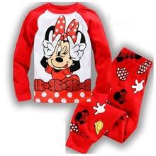 Cartoon Baby Girl Clothing Sets Cute Minnie Printing Long Sleeve T shirt + Casual Pant 2PCS Homewear Pajama Sets Kids Clothes