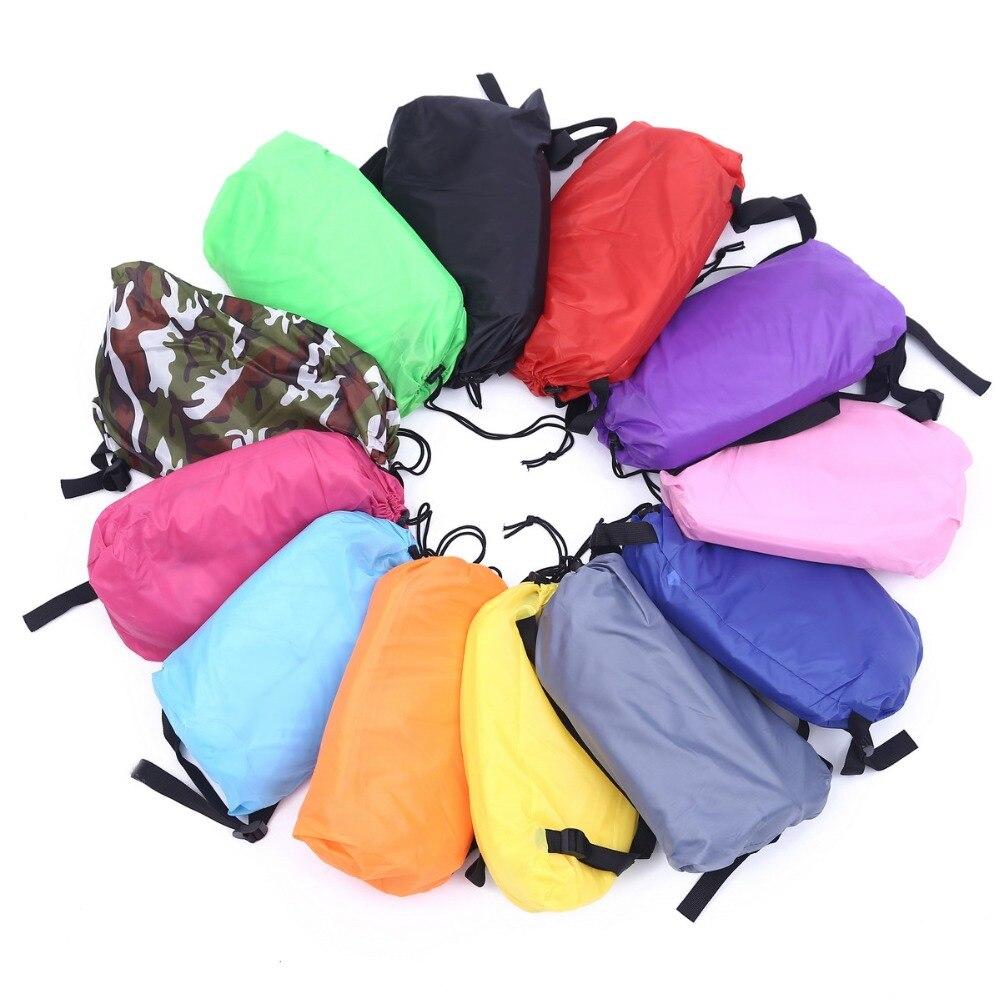 цена на 240*70cm Fast Inflatable Lazy bag Air Sleeping Bag Camping Portable Air Sofa Beach Bed Air Hammock Nylon Banana Sofa Lounger